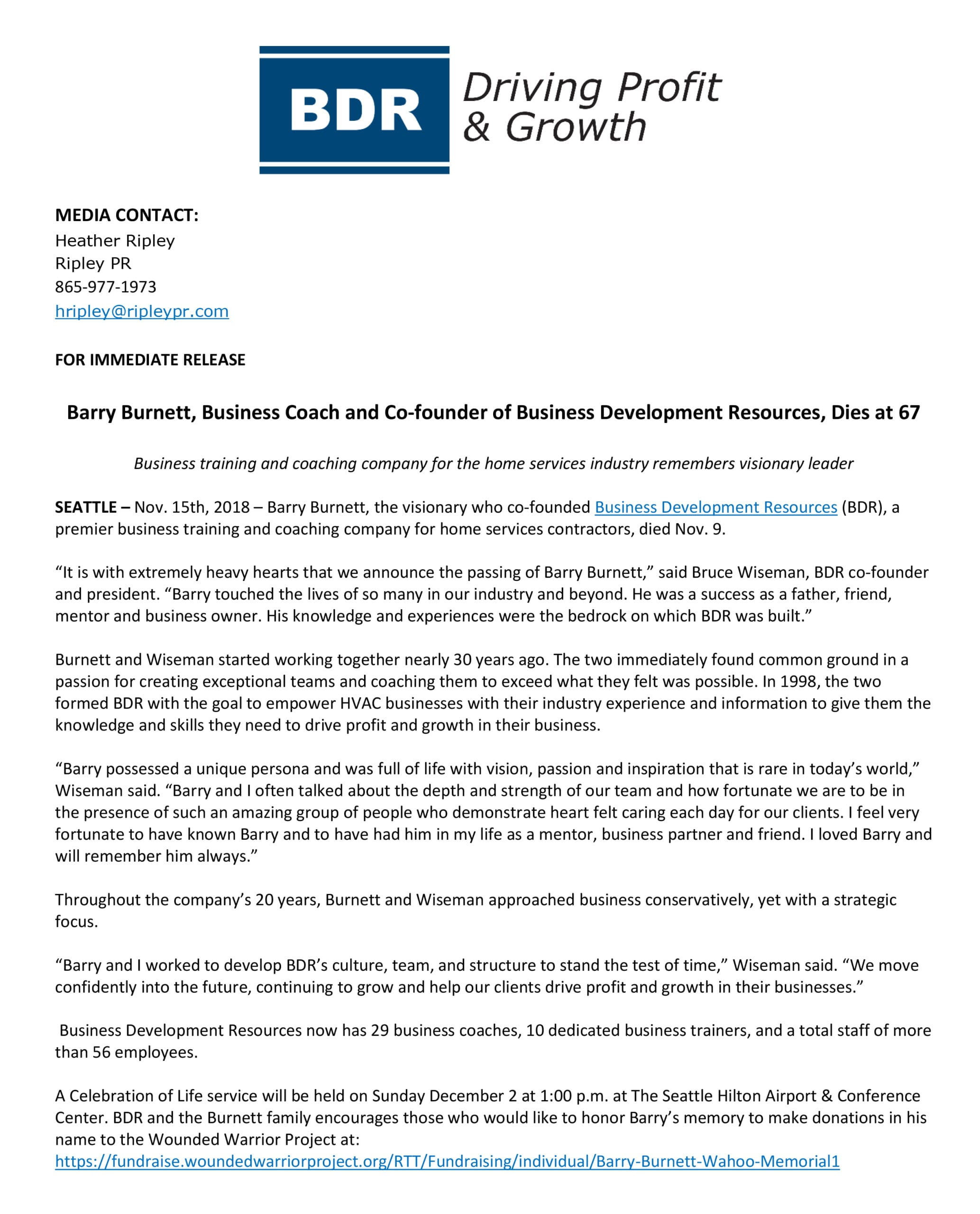 Barry Burnett press release.