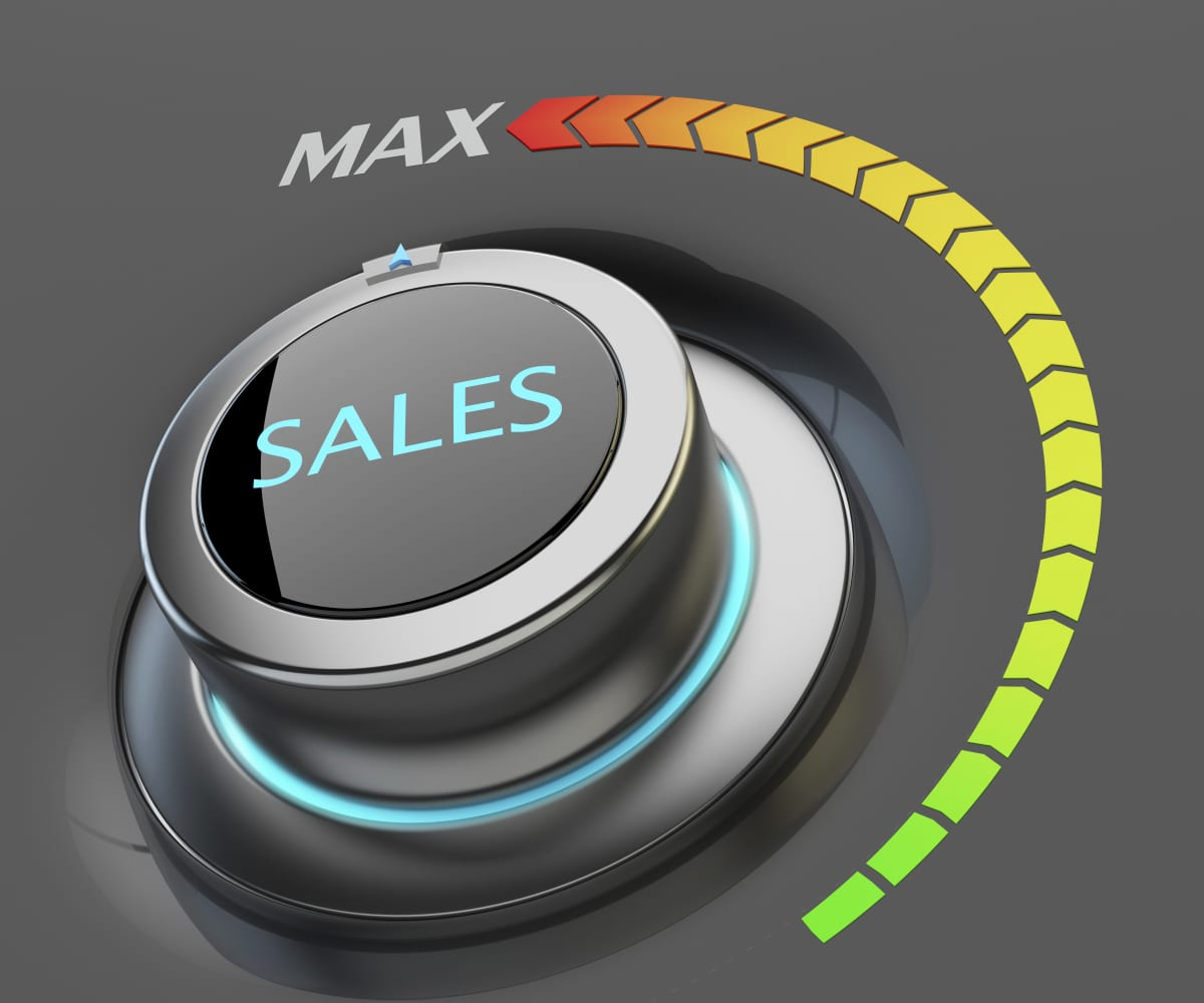"Illustration of a dial labeled ""Sales"" turned up all the way."